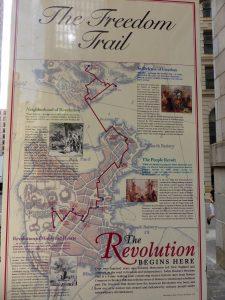 Karte mit dem Verlauf des Freedom Trails.