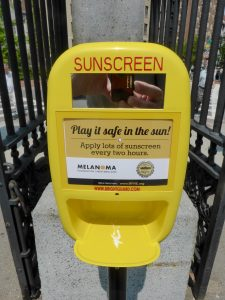 Der Sonnencreme-Spender im Boston-Common-Park