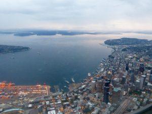 Die Skyline von Seattle von oben